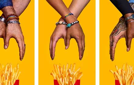Diverse Hands Become The Golden Arches in McDonald's National French Fry Day Campaign